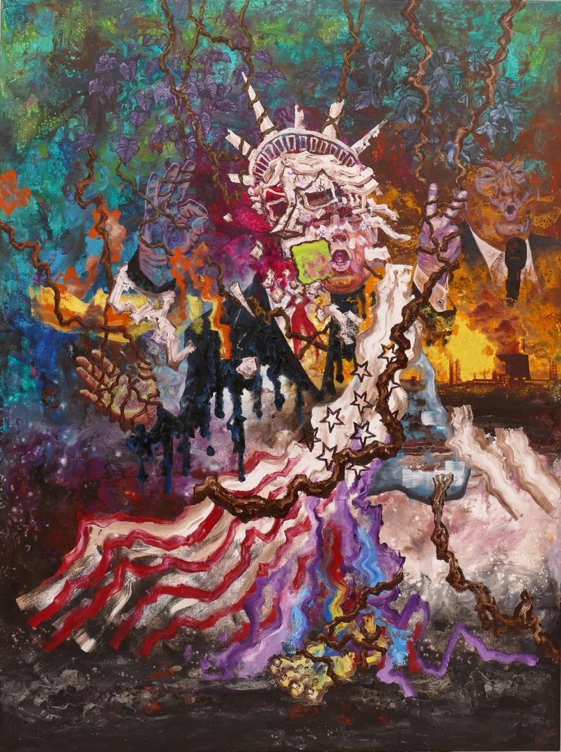 B, America great again,160x120cm,Öl,Acryl auf Leinwand,2020