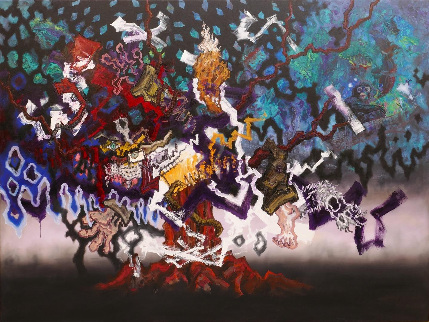 B, Baummensch V, 150x200cm, Öl, Acryl auf Leinwand,2020