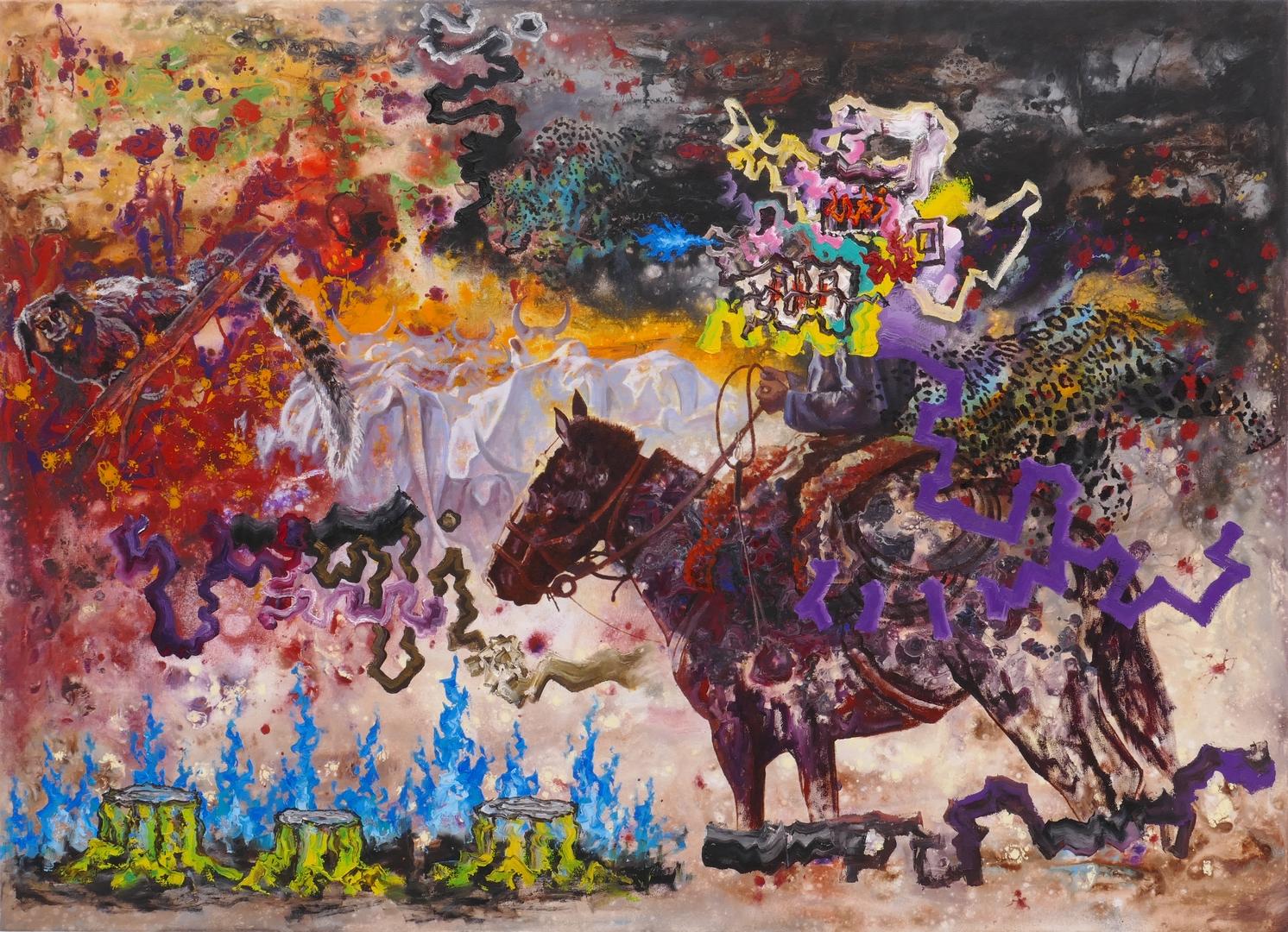 B, Cowboy in Brasilien II, 130x180cm, Öl, Acryl auf Leinwand,2021