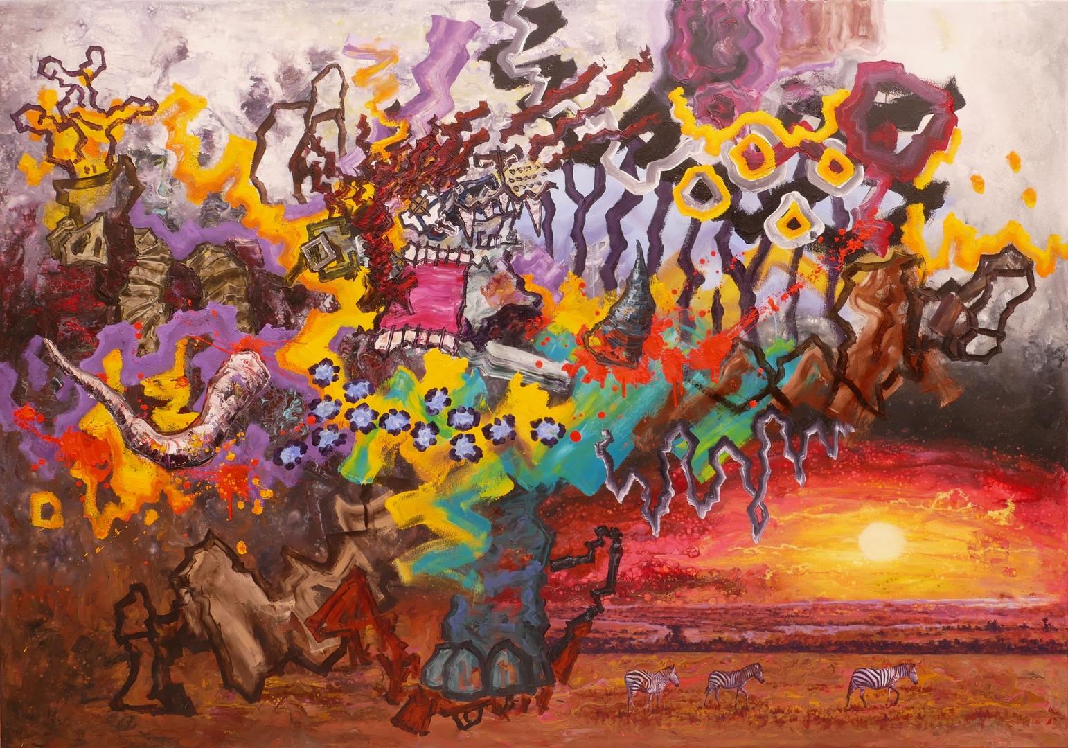 B, Das Ende eines Jägers, 140x200cm, Öl, Acryl auf Leinwand,2020.jpg