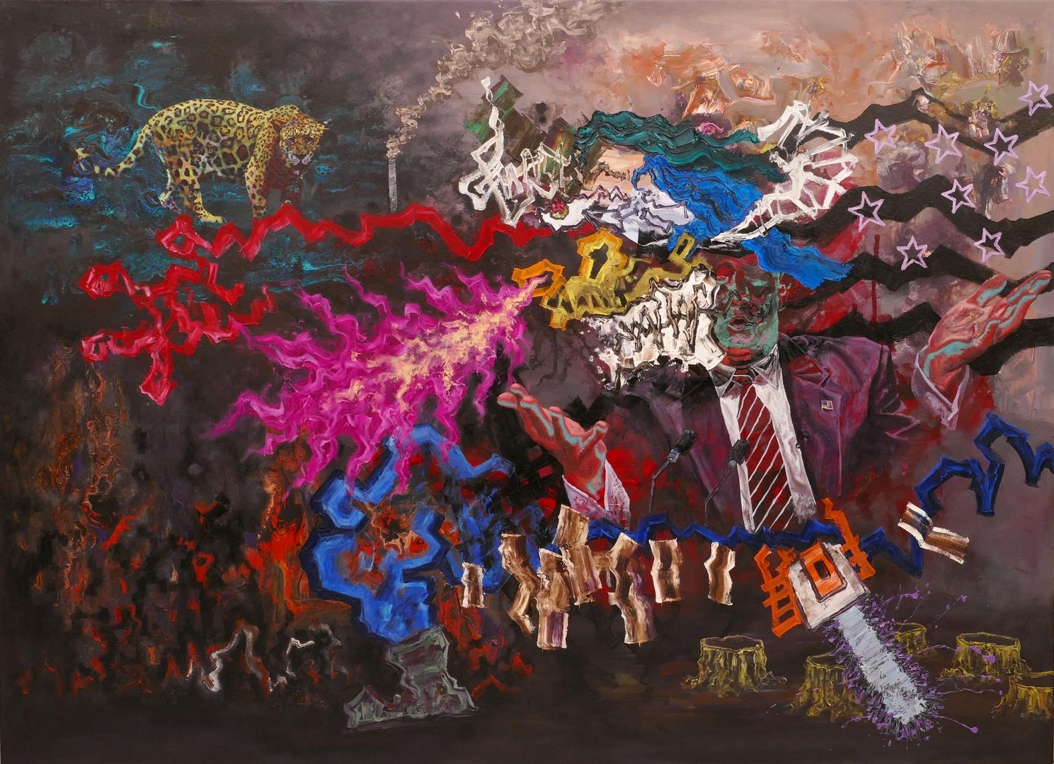 B, Das politische Monster, 130x180cm, Öl Acryl auf Leinwand, 2020