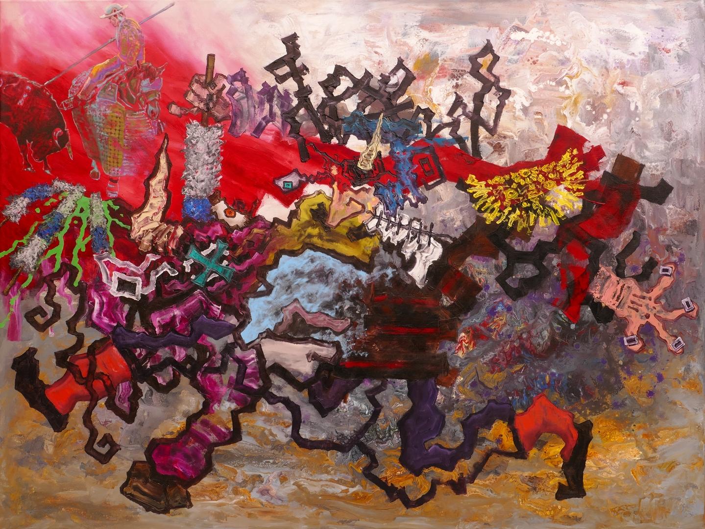 B, Das rote Bild, 120x160cm, Öl, Acryl auf Leinwand, 2020