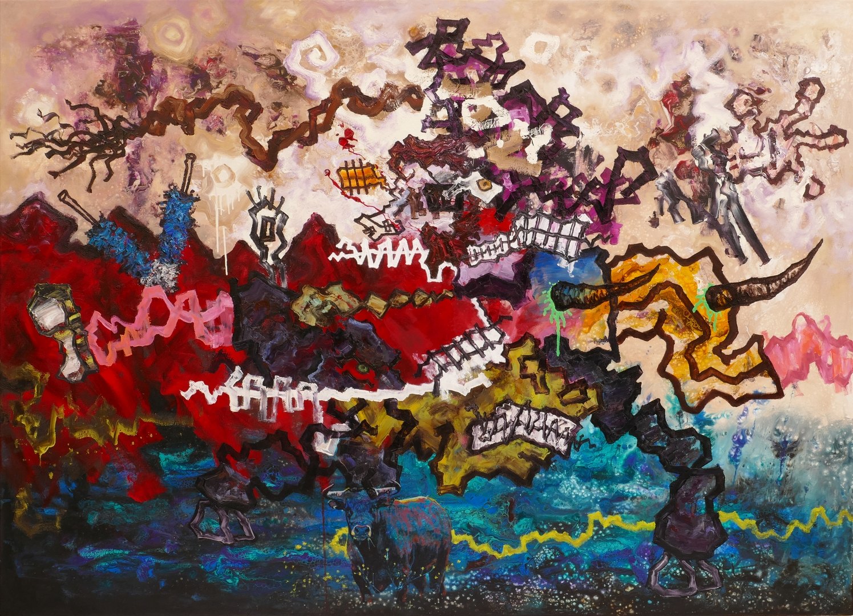 B, Das rote Bild II, 130x180cm, Öl ,Acryl auf Leinwand, 2020