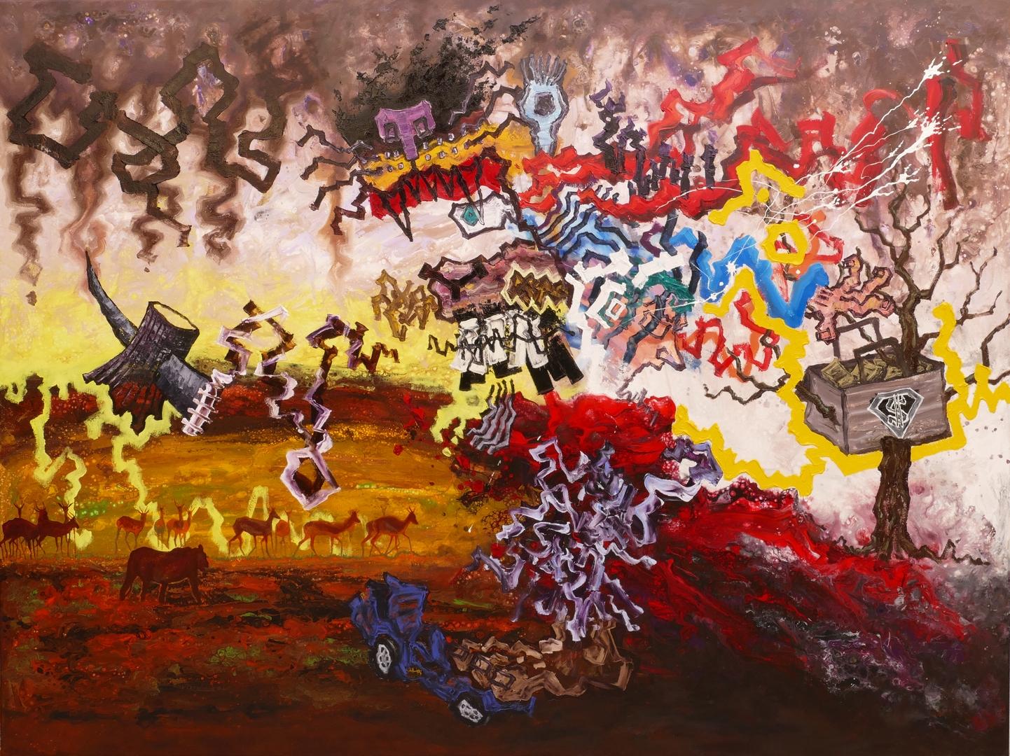 B, Der Sieg der Natur, 150x200cm, Öl ,Acryl auf Leinwand, 2020