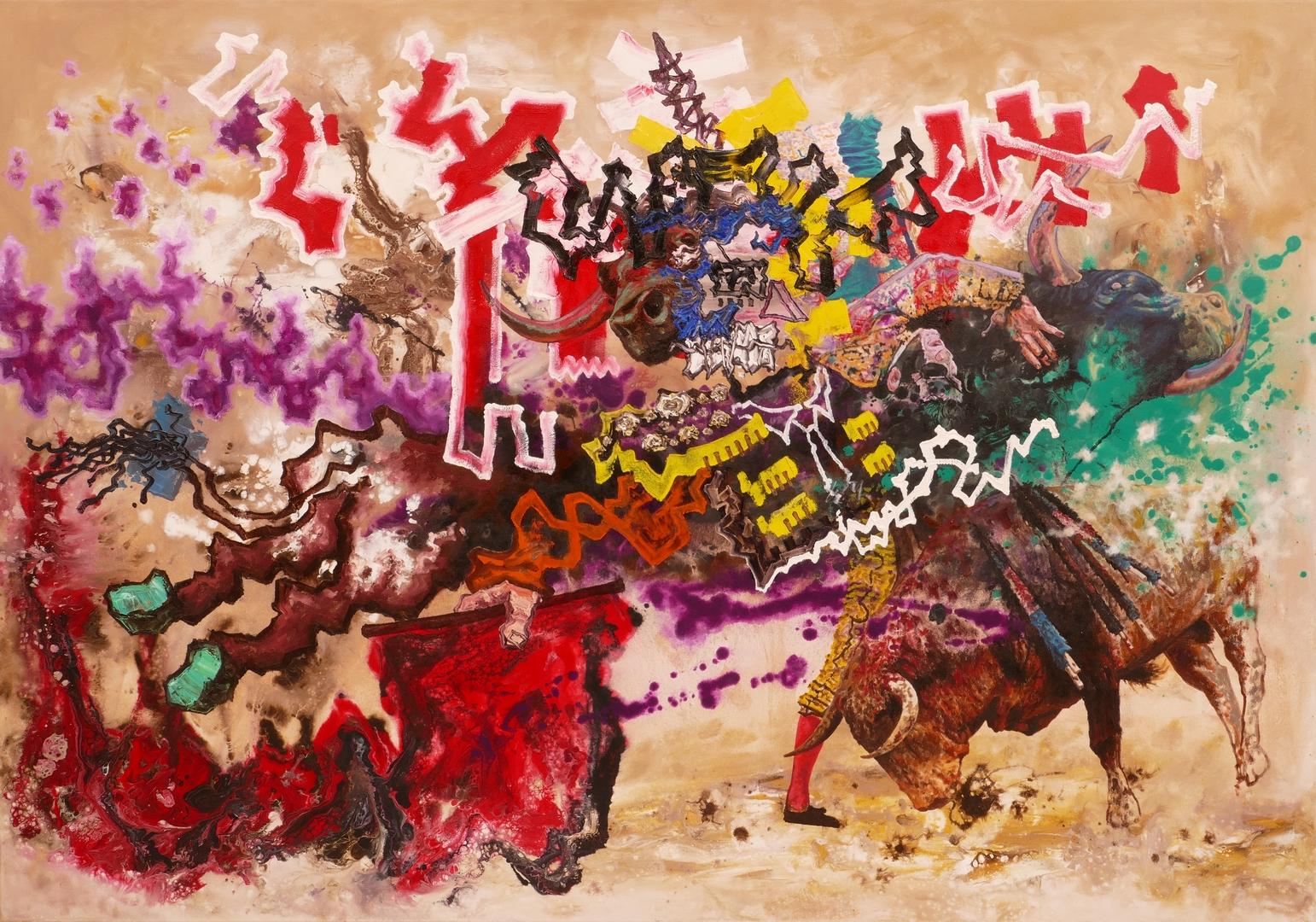 B, Der rote Pirat VI,140x200cm, Öl, Acryl,2020