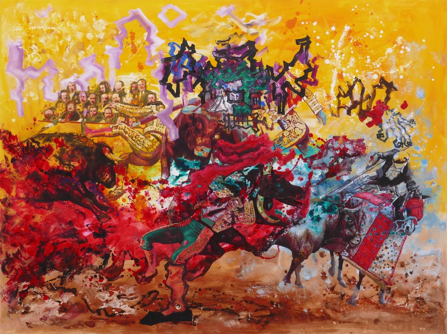 B, Der rote Pirat VII,150x200cm, Öl, Acryl,2021