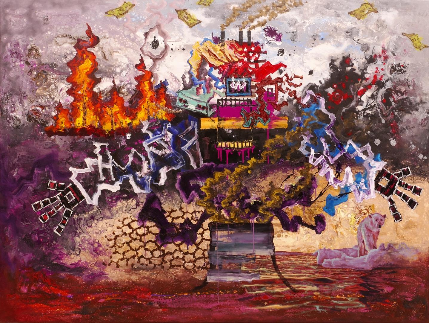 B, Der rote Planet, 120x160cm, Öl, Acryl auf Leinwand, 2020