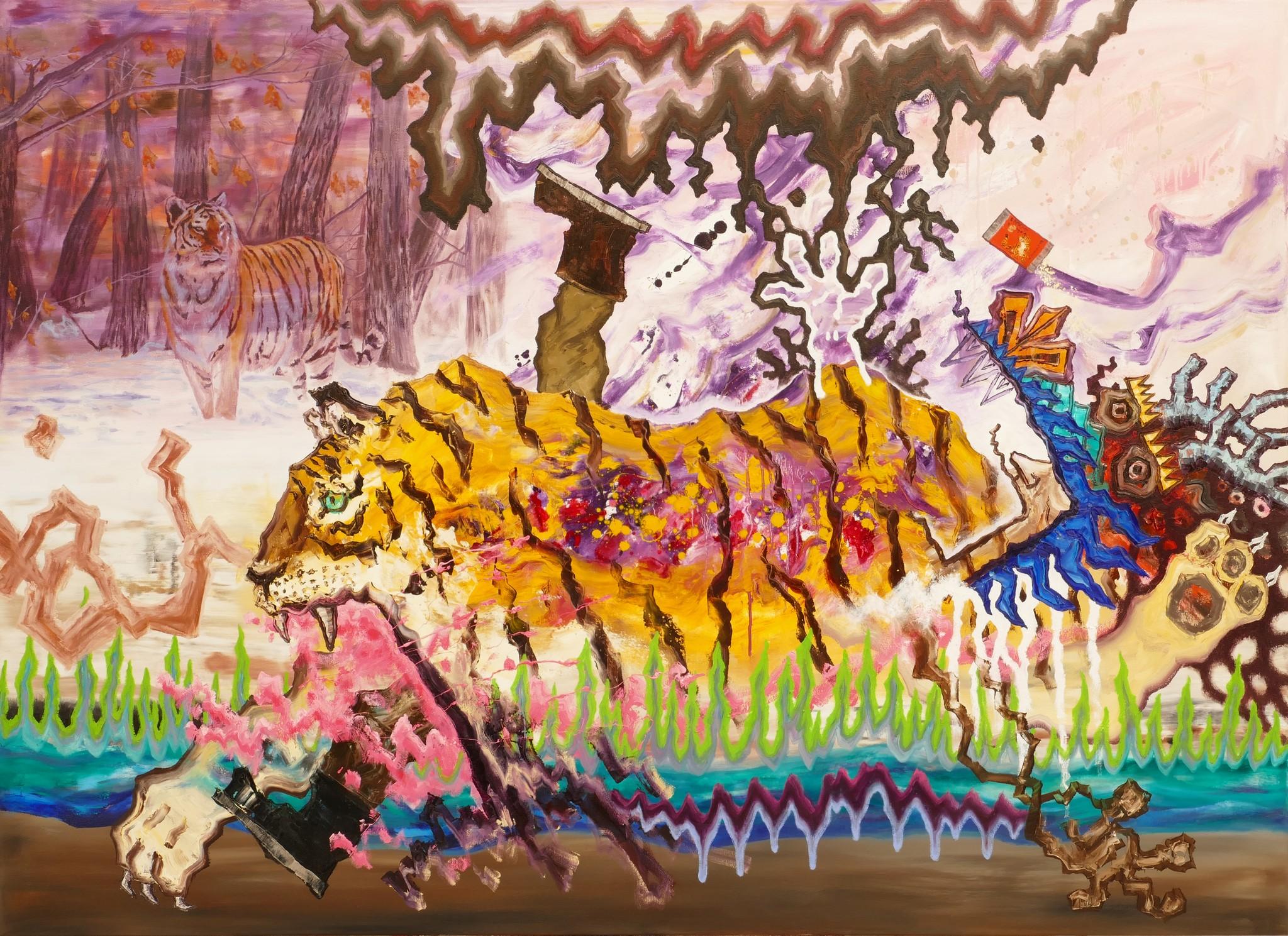 B, Tiger ohne Wirkung, 130x180cm, 2019