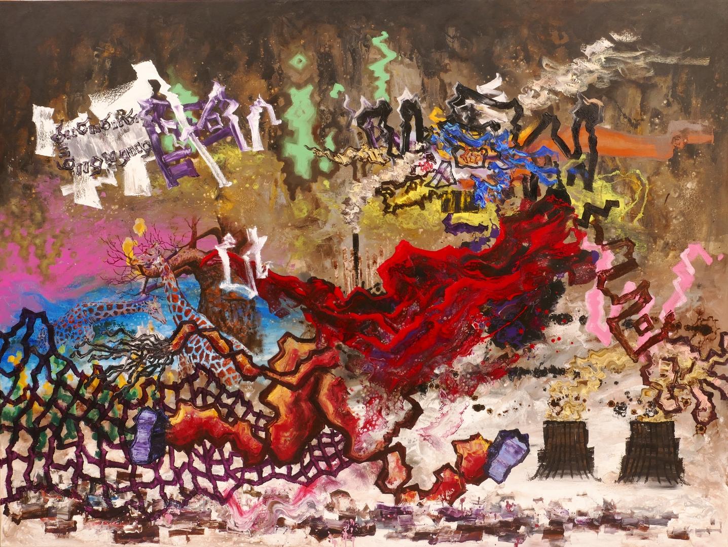 B, Unaufhaltsame Zerstörung, 150x200cm, Öl ,Acryl auf Leinwand, 2020