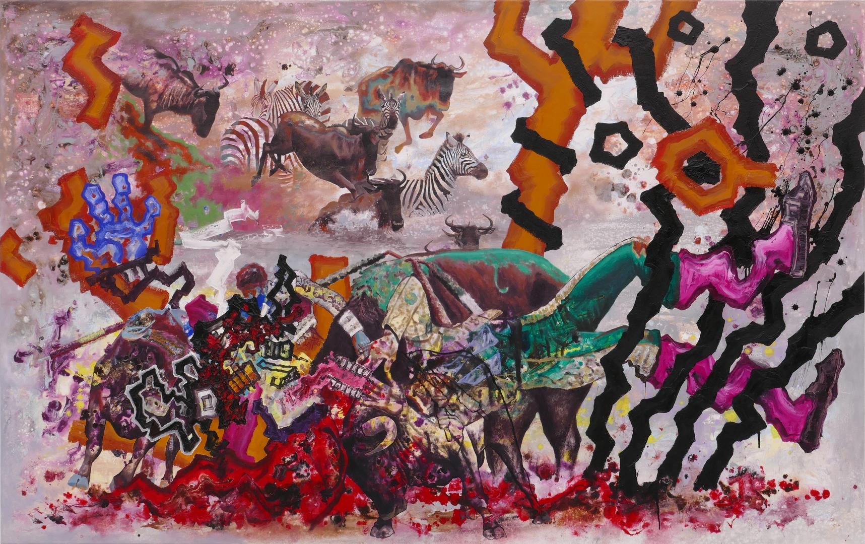 B, Verlorener Stierkaempfer, 120x190cm, Öl, Acryl auf Leinwand,2021