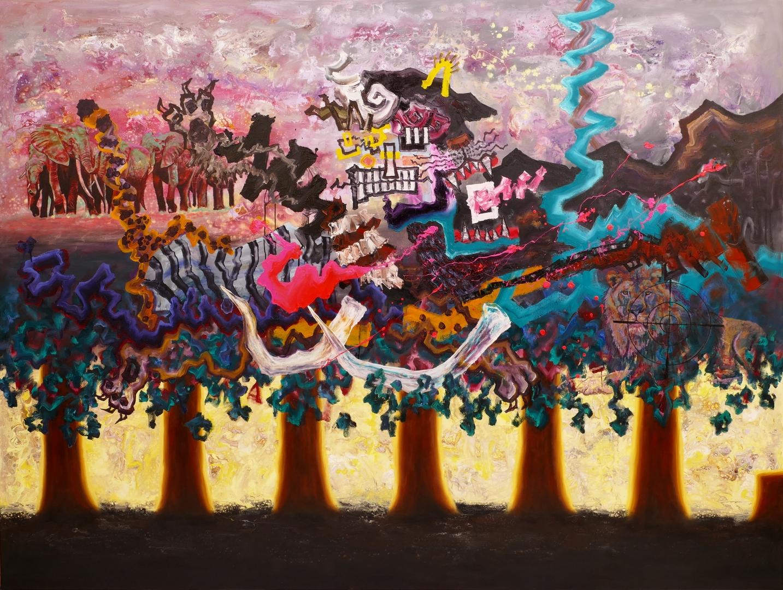 B, Zerstörungsmarsch II, 180x240cm, Öl, Acryl auf Leinwand, 2020
