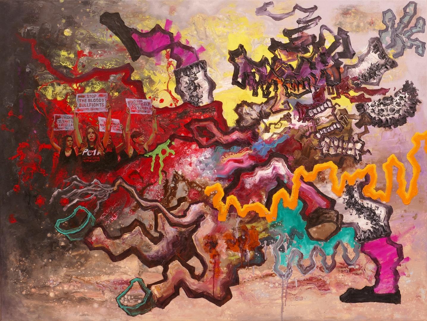 B,Horn gegen Schwert,90x120cm, Öl, Acryl auf Leinwand, 2020