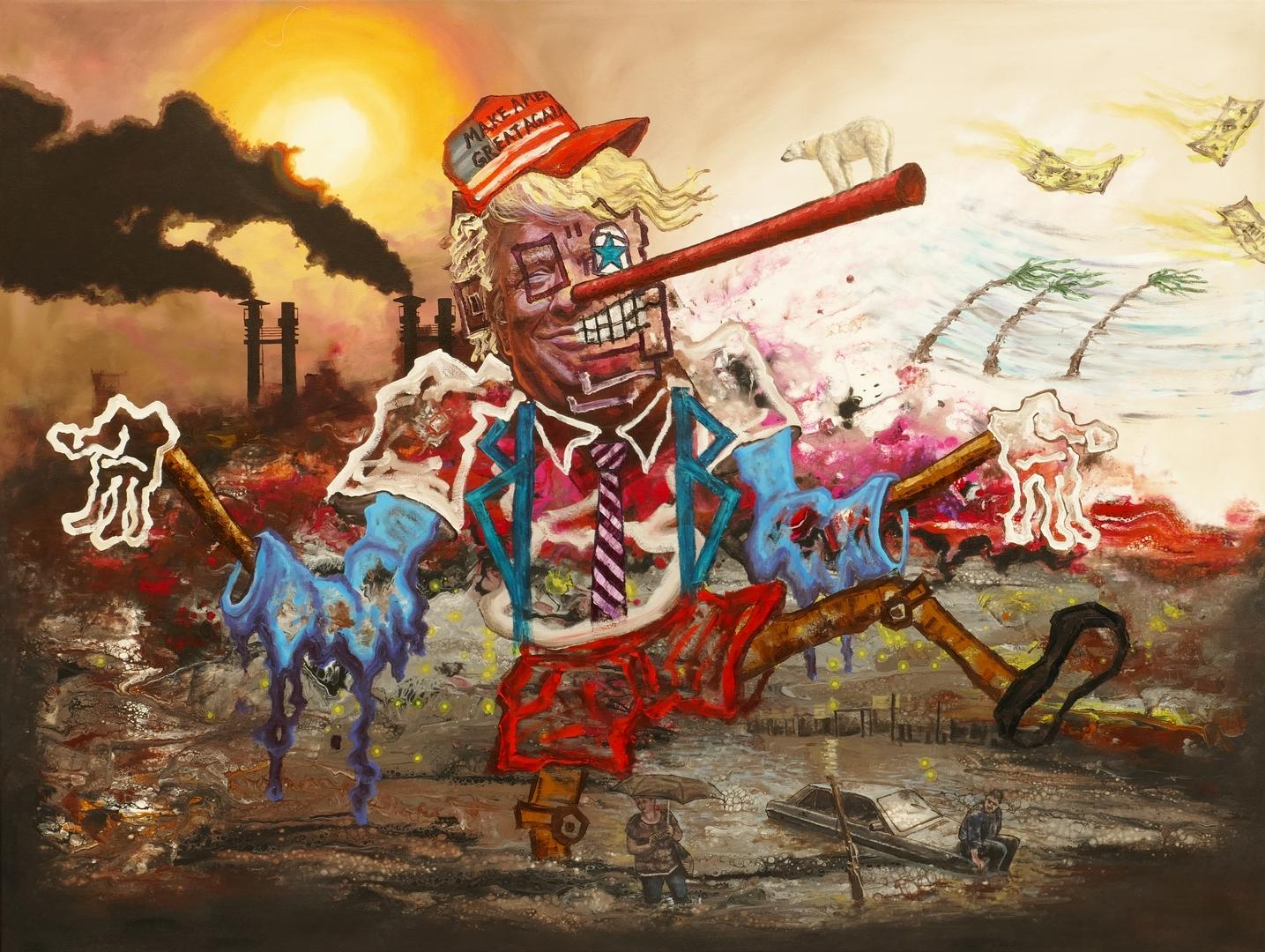 B,Pinokio und Klimawandel, 120x160cm, Öl, Acryl, 2019