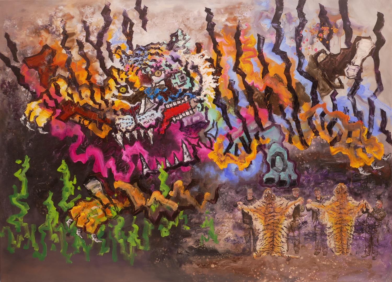 B,Tigerjagd III,Acryl,Öl,130x180cm,2020