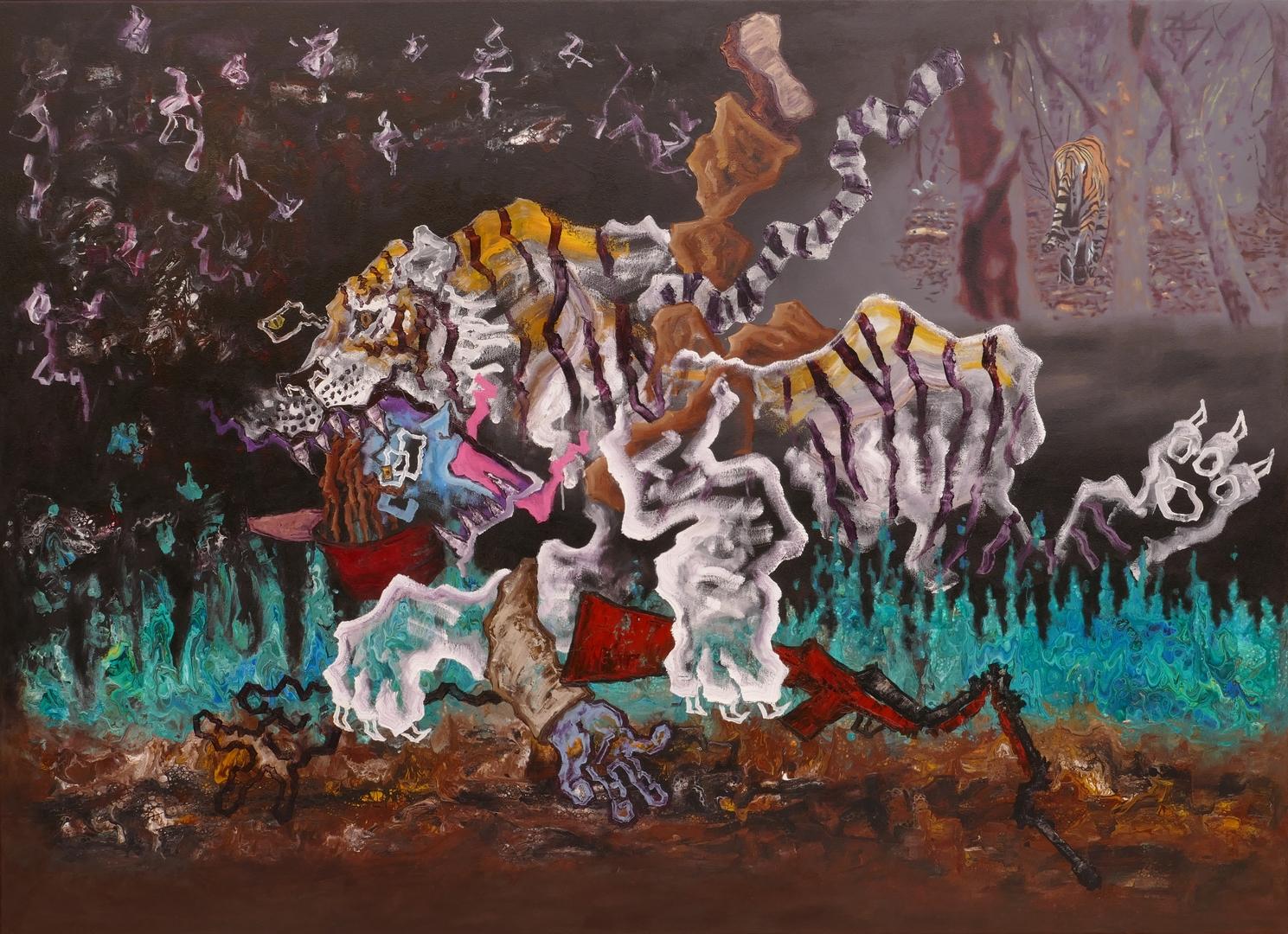 B,Tigerjagd,Acryl,Öl,130x180cm,2019