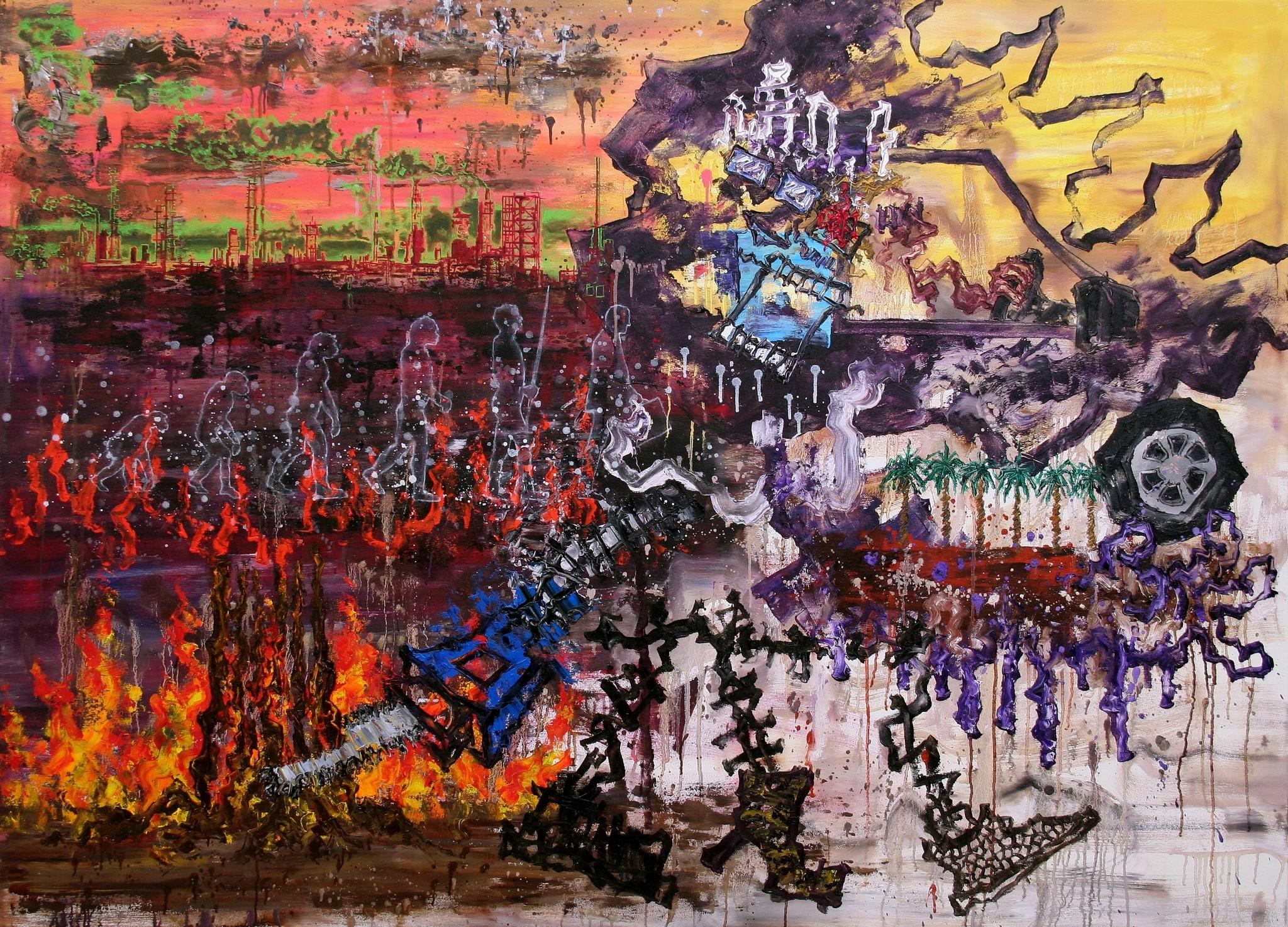 N,Die Entwicklung der Menschheit, 130x180cm,2016