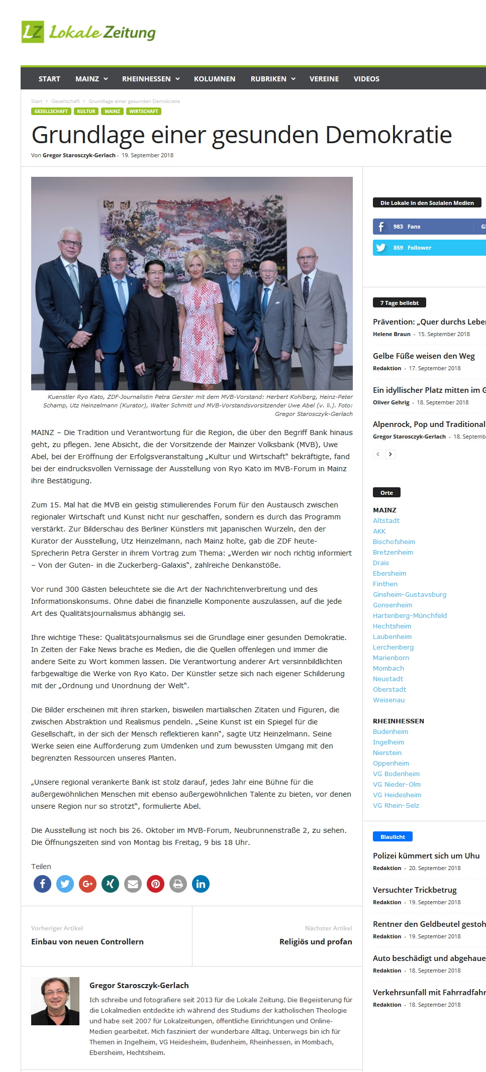 2018-09-20-Lokale Zeitung-KUW-Grundlage einer gesunden Demokratie